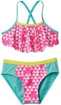 Pink Platinum Girls 4-6x Triangle Print Tankini & Scoop Bottoms Swimsuit Set