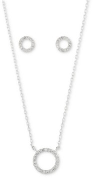 Unwritten 2-Pc. Set Cubic Zirconia Open Circle Pendant Necklace & Matching Stud Earrings in Fine Silver-Plate, Created for Macy's