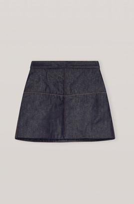 Ganni Raw Padded Denim Mini Skirt