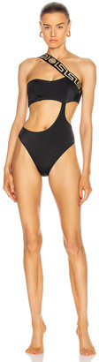 Versace Cutout One Piece Swimsuit in Nero | FWRD