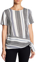 Lush Short Sleeve Striped Side Tie Blouse