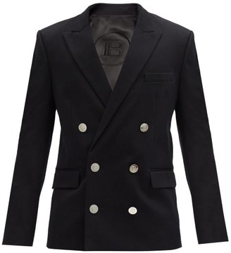Balmain Double-breasted Cotton-blend Jacket - Black