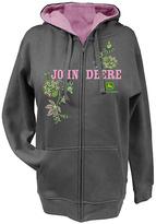 John Deere Charcoal Floral 'John Deere' Fleece Hoodie - Plus Too