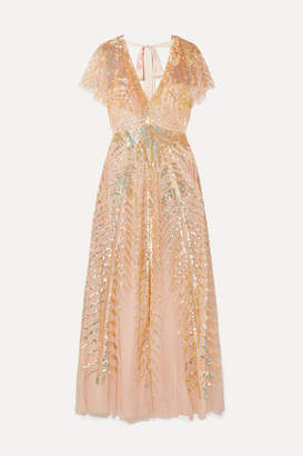 Temperley London Dusk Sequined Tulle Gown - Baby pink