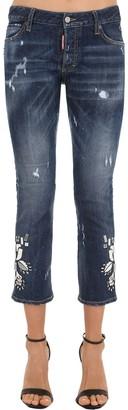 DSQUARED2 Mirror Embellished Cotton Denim Jeans