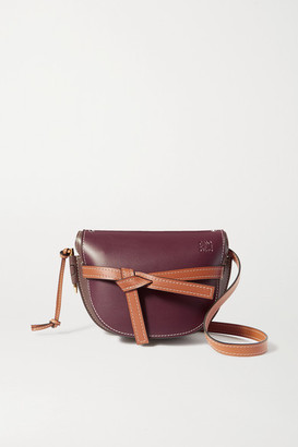Loewe Gate Small Color-block Leather Shoulder Bag - Burgundy