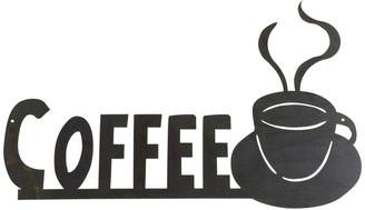 Precision Cut Custom Metal Design Coffee Cup Metal Wall Words, Painted Black