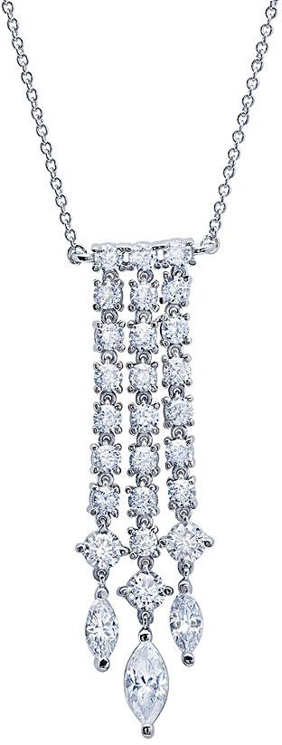 Crislu Silver & Platinum Cz Necklace