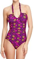 Old Navy Women's Printed Ruched-Yoke Swimsuits