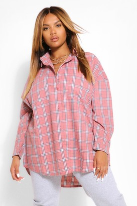 boohoo Plus Brushed Check Oversized Boyfriend Shirt