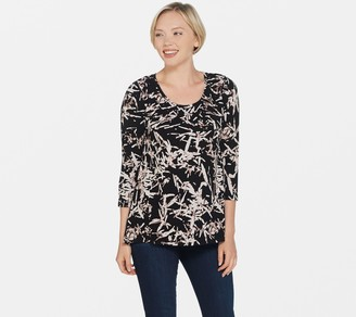 H by Halston Bamboo Printed Scoop Neck 3/4 Sleeve Top