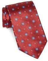 David Donahue Men's Floral Medallion Woven Silk Tie