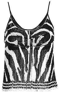 Amen Women's Beaded Fringe Zebra-Print Crop Top