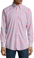 Neiman Marcus Classic Fit Non-Iron Cotton Sport Shirt, Red/Blue Check