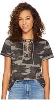 Lucky Brand Camo Lace-Up Tee Women's T Shirt