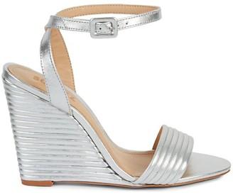 Schutz Kahritah Metallic Leather Wedge Sandals