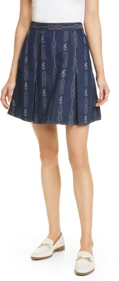 Tory Burch Gemini Jacquard Denim Miniskirt