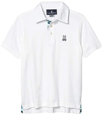 Psycho Bunny Kids Rowcross Polo (Toddler/Little Kids/Big Kids) (White) Boy's Clothing