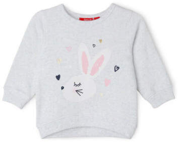 Sprout NEW Girls Essential Crew Neck Sweat - Bunny/ Grey Marle
