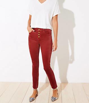 LOFT Velvet High Waist Button Fly Skinny Pants