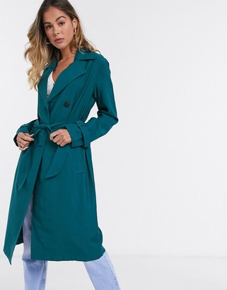 JDY arya trench coat in teal