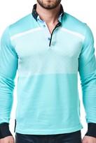 Maceoo Printed Panel Long Sleeve Polo Shirt