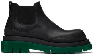 Bottega Veneta Black and Green Low Tire Chelsea Boots