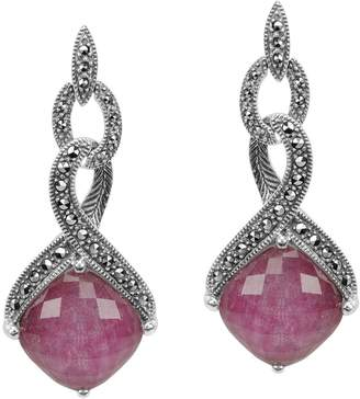Suspicion Sterling Marcasite & Ruby Doublet Earrings