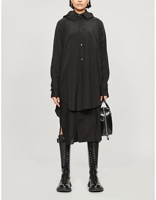 Yohji Yamamoto Hooded rayon and cotton-blend coat