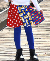Beary Basics Red & Blue Apple Patchwork Circle Skirt - Infant Toddler & Girls