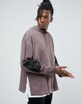 Asos Oversized Hoodie With Woven Sleeve Panels & Side Splits
