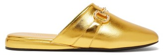 Gucci Pericles Metallic-leather Backless Loafers - Womens - Gold