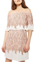 Topshop Women's Bardot Leaf Pleat Minidress
