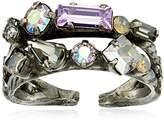 Sorrelli Purple Lotus Delicate Multi-Cut Double Band Adjustable Ring