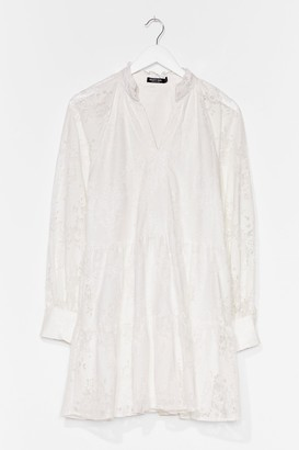 Nasty Gal Womens Laces to Be Tiered Mini Dress - White - 4