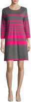 Joan Vass Striped Cotton Two-Pocket Shift Dress, Gray/Pink, Plus Size