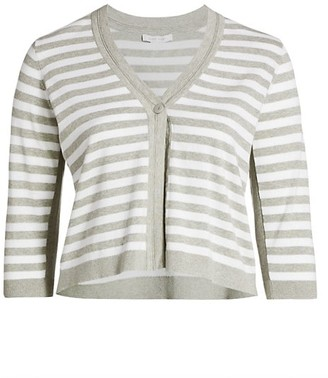 Joan Vass, Plus Size Striped Sweater Cardigan