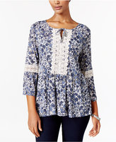 Style&Co. Style & Co Petite Printed Peplum Peasant Top, Only at Macy's