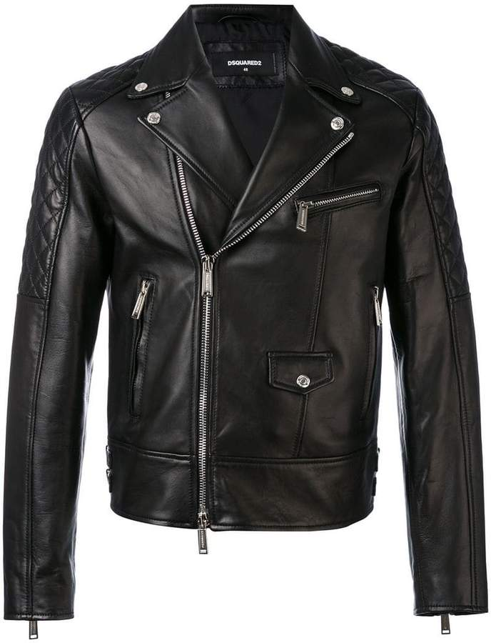 DSQUARED2 quilted panel biker jacket