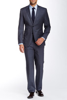English Laundry Grey Windowpane Two Button Peak Lapel Wool Suit
