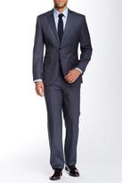 English Laundry Grey Windowpane Two Button Peak Lapel Wool Suit