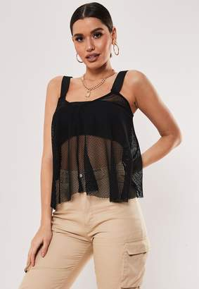 Missguided Black Fishnet Loose Cami Top