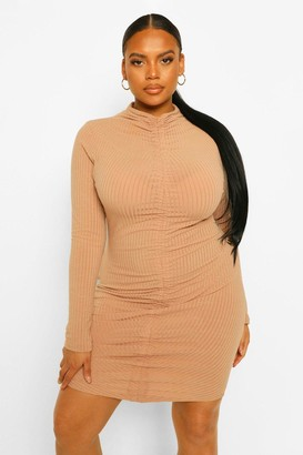 boohoo Plus Soft Rib High Neck Ruched Bodycon Dress