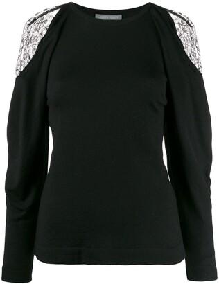 Alberta Ferretti lace-detail sweater