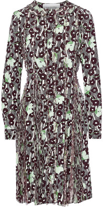 Valentino Embellished Chiffon-paneled Printed Silk Crepe De Chine Dress