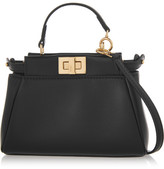 Fendi Peekaboo Micro Leather Shoulder Bag - Black