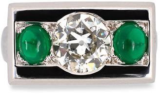 Nm Estate Estate 14k White Gold Diamond and Emerald Ring, Size 5.25
