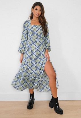 Missguided Check Square Neck Smock Midi Dress