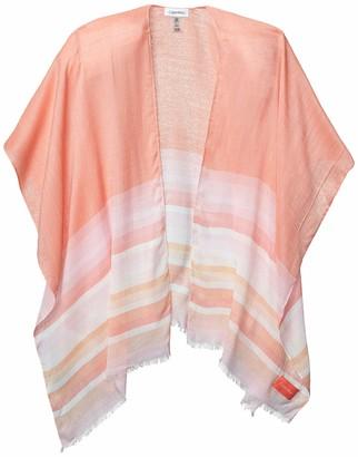 Calvin Klein Women's Border Stripe 100% Rayon Lightweight Shawl