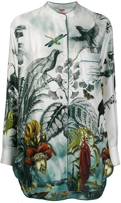 F.R.S For Restless Sleepers silk tropical-print blouse